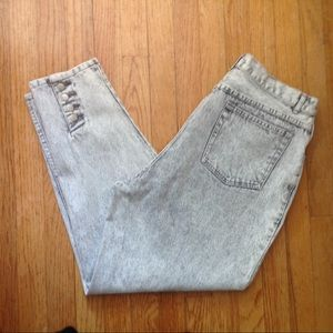 80s high rise stone washed tapered leg mom jeans
